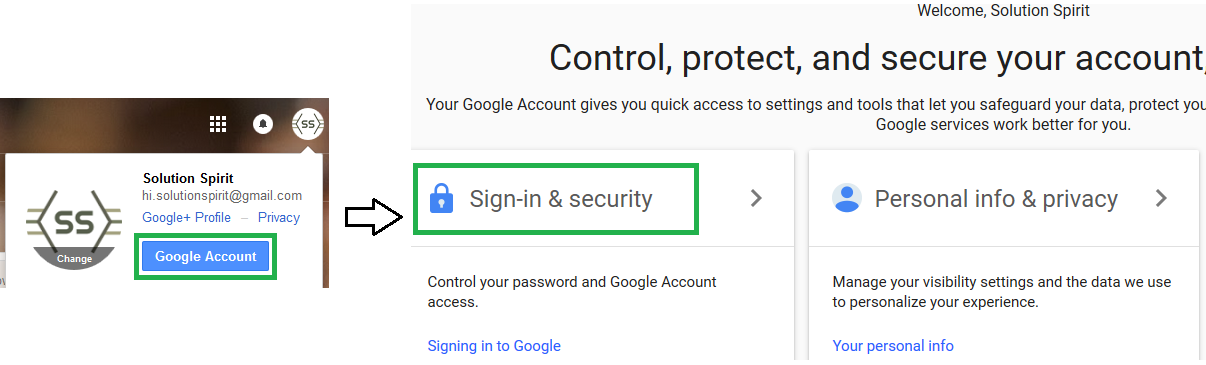 Google account settings and go to sign-in and security